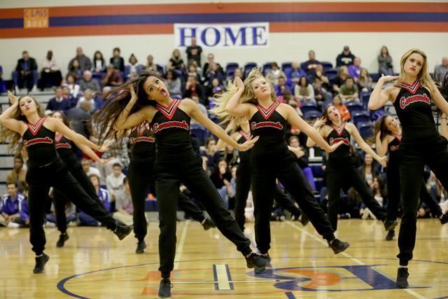 Coronado cheerleaders perform during the halftime of a basketball game between Bishop Gorman and Coronado at Bishop Gorman High School on Tuesday, Dec. 6, 2016, in Las Vegas. (Rachel Aston/Las Veg ...
