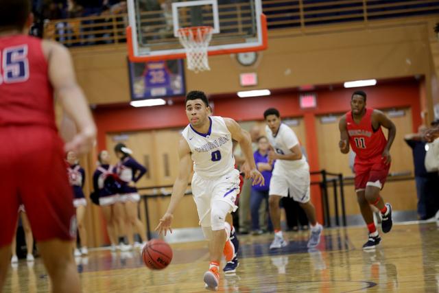Bishop Gorman's point guard Jarrett Jordan (0) dribbles the ball during a basketball game at Bishop Gorman High School on Tuesday, Dec. 6, 2016, in Las Vegas. (Rachel Aston/Las Vegas Review-Journa ...
