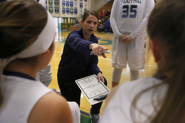 Foothill's head-coach Laura Allen gestures towards a player during a timeout during a high school basketball game at the Gator Winter Classic on Tuesday, Dec. 27, 2016, in Henderson. (Christian K. ...