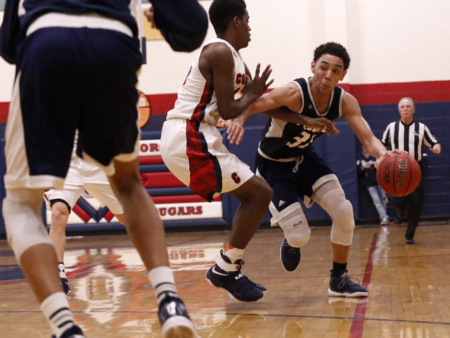 Foothill's Marvin Coleman (31) drives down the court during the second half of a high school basketball game on Tuesday, Feb. 7, 2017, in Henderson. (Christian K. Lee/Las Vegas Review-Journal) @ch ...
