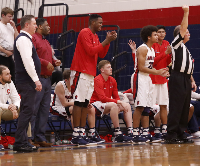 Coronado players cheer during the second half of a high school basketball game on Tuesday, Feb. 7, 2017, in Henderson. (Christian K. Lee/Las Vegas Review-Journal) @chrisklee_jpeg