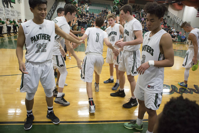 Palo Verde welcomes their team member, junior Mitchell Olsen, to the court while announcing their starting lineup for their game against Shadow Ridge at Palo Verde High School on Thursday, Feb. 9, ...