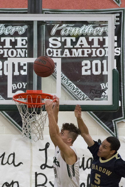Palo Verde senior James Camp makes a slam dunk on Shadow Ridge at Palo Verde High School on Thursday, Feb. 9, 2017, in Las Vegas. (Bridget Bennett/Las Vegas Review-Journal) @bridgetkbennett