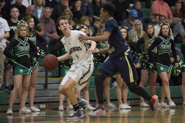 Palo Verde junior Mitchell Olsen looks for an open teammate at Palo Verde High School on Thursday, Feb. 9, 2017, in Las Vegas. (Bridget Bennett/Las Vegas Review-Journal) @bridgetkbennett