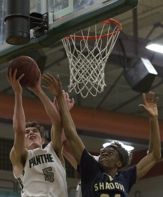 Palo Verde senior James Camp makes a shot on Shadow Ridge at Palo Verde High School on Thursday, Feb. 9, 2017, in Las Vegas. (Bridget Bennett/Las Vegas Review-Journal) @bridgetkbennett