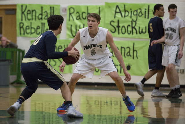 Palo Verde senior James Camp to guard Shadow Ridge at Palo Verde High School on Thursday, Feb. 9, 2017, in Las Vegas. (Bridget Bennett/Las Vegas Review-Journal) @bridgetkbennett