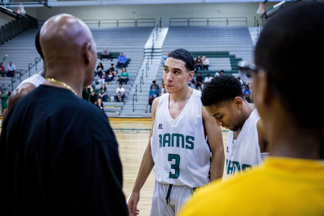 Rancho Rams Guard Chrys Jackson, 3, listens during a timeout during a game against Agassi Prep, at Rancho High School, Jan. 16, 2017, Las Vegas. (Elizabeth Brumley/Las Vegas Review-Journal) @EliPa ...