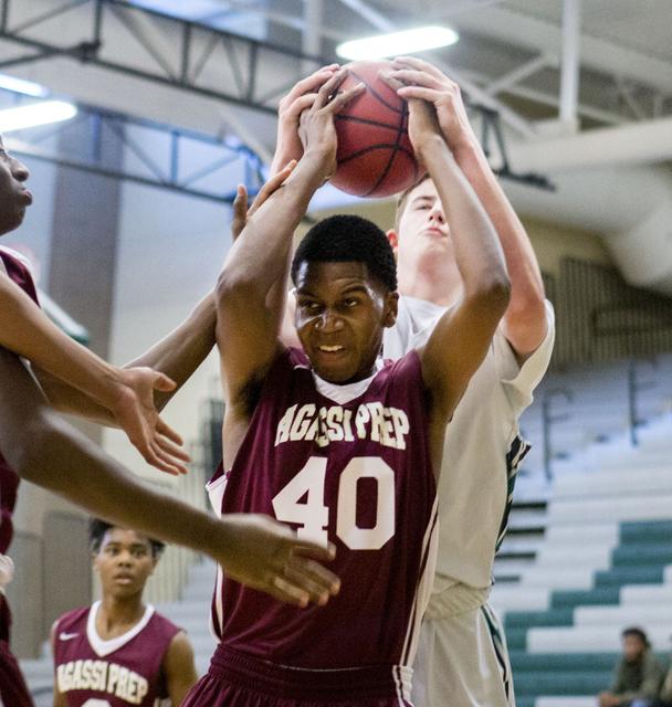 Agassi Prep Forward Miles Mixon (40), rebounds the ball against the Rancho Rams at Rancho High School, Las Vegas, Monday, Jan. 16, 2017. (Elizabeth Brumley/Las Vegas Review-Journal) @EliPagePhoto
