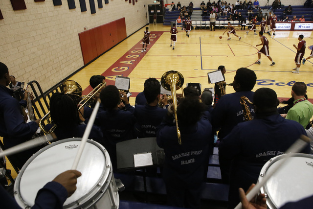 The school's band plays during a boys basketball game on Wednesday, Jan. 18, 2017, in Las Vegas. (Christian K. Lee/Las Vegas Review-Journal) @chrisklee_jpeg