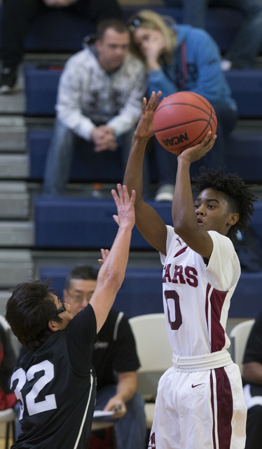 Agassi Prep's Akeemis Williams (0) takes a shot against Mountain View in the boy's basketball game at Andre Agassi College Preparatory Academy on Saturday, Jan. 7, 2017, in Las Vegas. Agassi Prep  ...