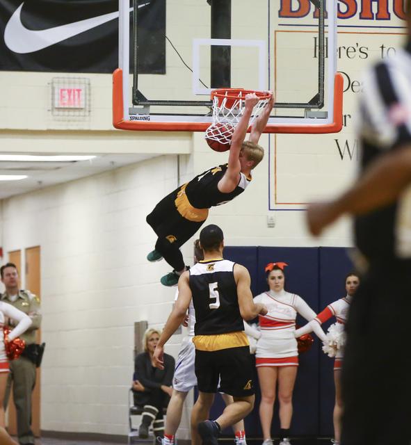Clark guard Trey Woodbury (22) dunks during a basketball game at Bishop Gorman High School in Las Vegas on Tuesday, Jan. 31, 2017. Clark won 68-62. (Chase Stevens/Las Vegas Review-Journal) @csstev ...