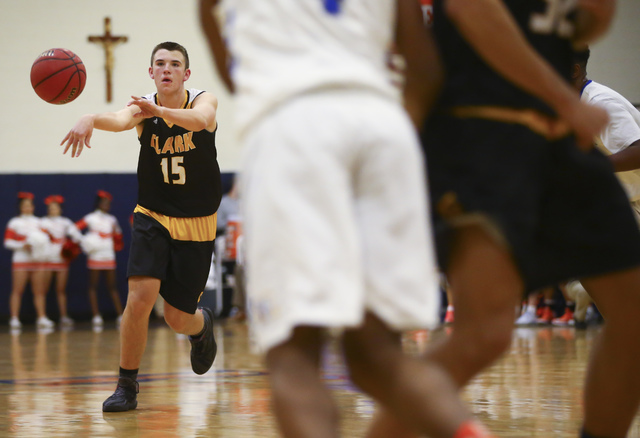 Clark guard James Bridges (15) makes a pass during a basketball game at Bishop Gorman High School in Las Vegas on Tuesday, Jan. 31, 2017. Clark won 68-62. (Chase Stevens/Las Vegas Review-Journal)  ...