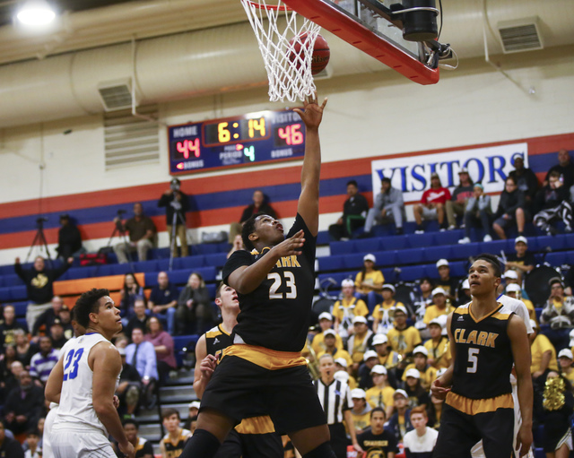 Clark forward Antwon Jackson (23) goes up to shoot during a basketball game at Bishop Gorman High School in Las Vegas on Tuesday, Jan. 31, 2017. Clark won 68-62. (Chase Stevens/Las Vegas Review-Jo ...
