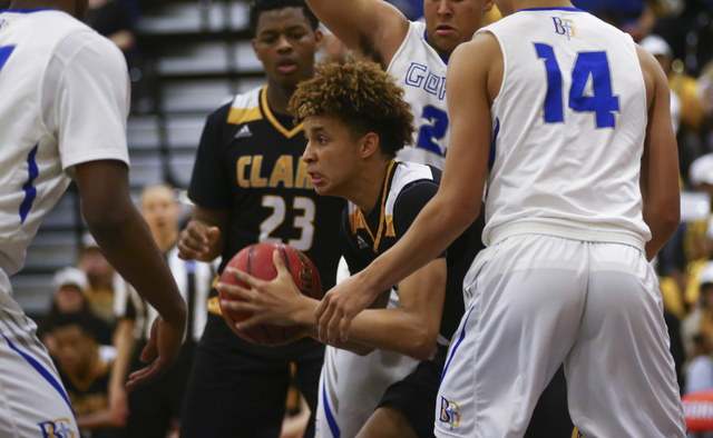 Clark forward Jalen Hill (20) looks for an open pass during a basketball game at Bishop Gorman High School in Las Vegas on Tuesday, Jan. 31, 2017. Clark won 68-62. (Chase Stevens/Las Vegas Review- ...