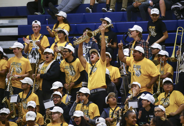 Members of the Clark band cheer during a basketball game at Bishop Gorman High School in Las Vegas on Tuesday, Jan. 31, 2017. Clark won 68-62. (Chase Stevens/Las Vegas Review-Journal) @csstevensphoto
