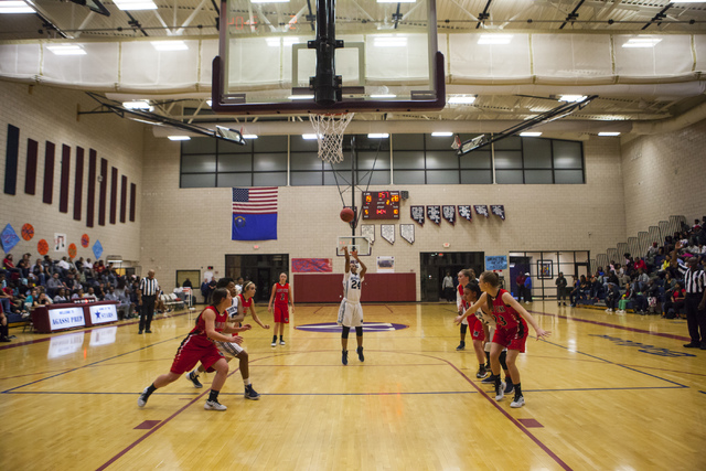 Agassi Prep guard Destiny Rover (24) shoots during a game against Lincoln County at Andre Agassi College Preparatory Academy  in Las Vegas on Friday, Feb. 10, 2017. (Miranda Alam/Las Vegas Review- ...