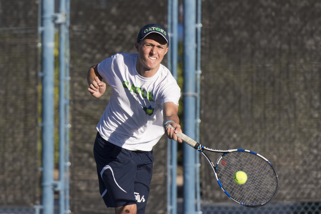 Green Valley's Ben Lieberman plays a tennis game against Green Valley's Brandon Farber during the Sunrise Region boys singles finals at Darling Tennis Center in Las Vegas, Saturday, Oct. 15, 2016. ...
