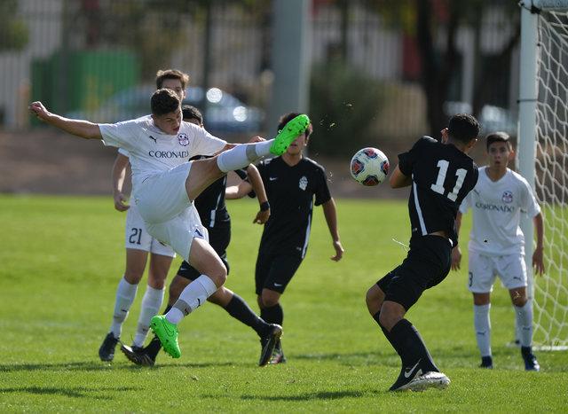 Coronado's Grant Smyth (3) kicks the ball during the boys Class 4A State Championship at Bettye Wilson Soccer Complex in Las Vegas on Saturday, Nov. 12, 2016. Brett Le Blanc/Las Vegas Review-Journ ...