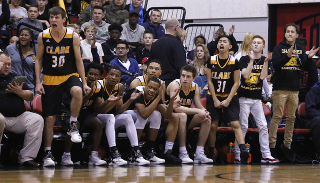 Clark players react during the first half of a Class 4A boys state final game at the Cox Pavillion on Friday, Feb. 24, 2017, in Las Vegas. (Christian K. Lee/Las Vegas Review-Journal) @chrisklee_jpeg
