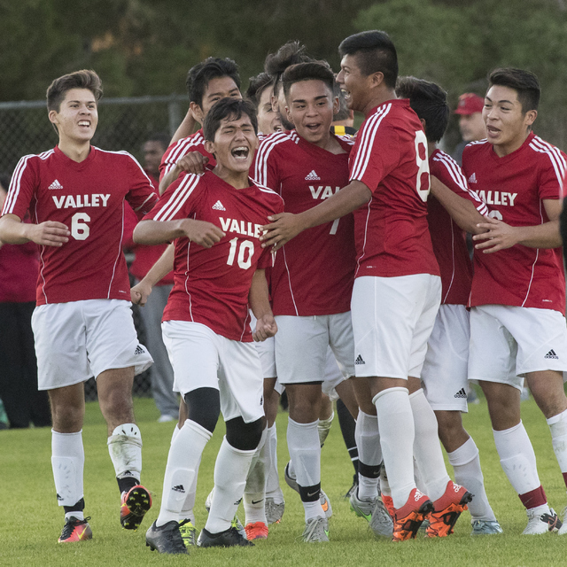 Valley High School celebrates their win after their semifinal game against Las Vegas High School at Bettye Wilson Soccer Complex in Las Vegas on Thursday, Nov. 3, 2016. Loren Townsley/Las Vegas Re ...
