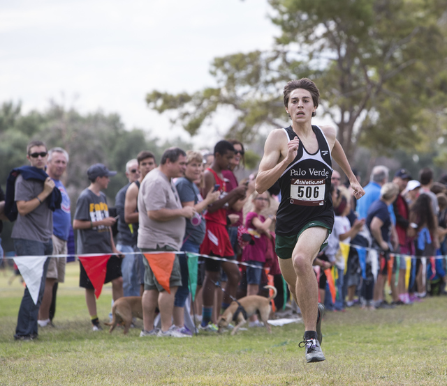 Daniel Ziems, from Palo Verde High School, finishes first during the Regional 4A Sunset Boys cross country meet at Craig Ranch Park on Friday, Oct. 27, 2016, in North Las Vegas. Loren Townsley/Las ...
