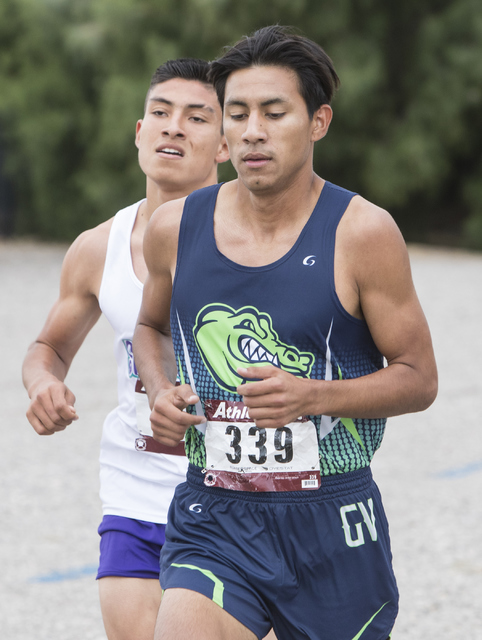 Omar Rubio, right, and Omar Aguilar Espinoza lead the Regional 4A Sunrise Boys cross country meet at Craig Ranch Park on Friday, Oct. 27, 2016, in North Las Vegas. Loren Townsley/Las Vegas Review- ...