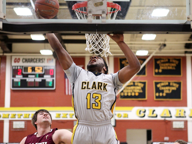 Clark forward Ty'Rek Wells drops in two points on Faith Lutheran during their game Thursday, Feb. 12, 2015 at Clark. Clark won 64-49. (Sam Morris/Las Vegas Review-Journal)
