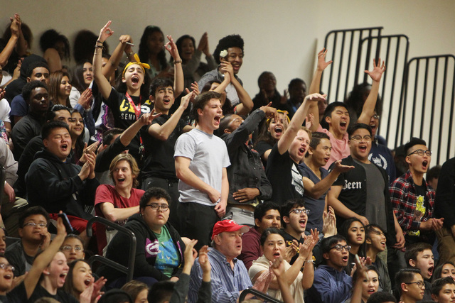 Clark fans cheer as the Chargers pull away from Faith Lutheran during their game Thursday, Feb. 12, 2015 at Clark. Clark won 64-49. (Sam Morris/Las Vegas Review-Journal)