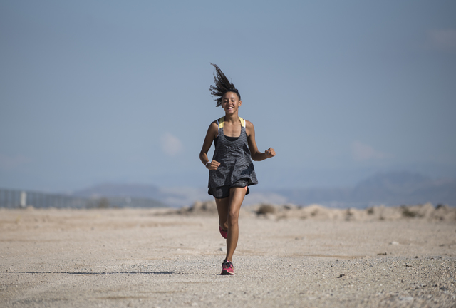 Freshman Diamond Morris, 14, runs during cross country practice at Southeast Career Technical Academy on Tuesday, Oct. 25, 2016. Martin S. Fuentes/Las Vegas Review-Journal