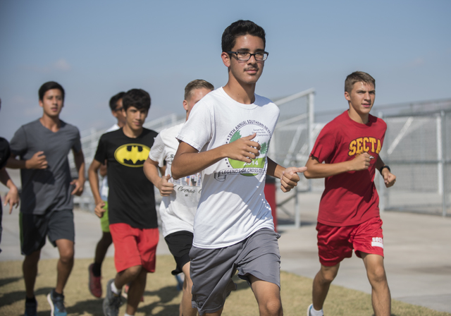 Junior Bruce Troncoso, center, 16, runs during cross country practice at Southeast Career Technical Academy on Tuesday, Oct. 25, 2016. Martin S. Fuentes/Las Vegas Review-Journal