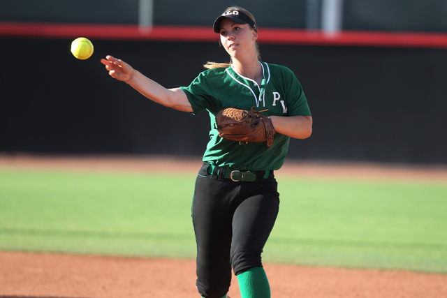 Palo Verde's Kali Tomlinson (17) throws the ball to first base for an out in the first inning of their softball game against Rancho at Eller Media Softball Stadium at UNLV in Las Vegas Thursday, M ...