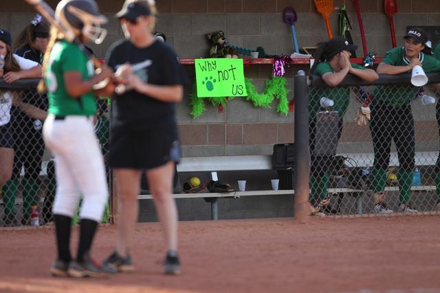 A sign decorates Palo Verde's dugout during their softball game against Rancho at Eller Media Softball Stadium at UNLV in Las Vegas Thursday, May 14, 2015. Palo Verde won 2-1. (Erik Verduzco/Las V ...