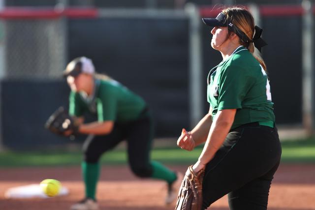 Palo Verde's Kelsea Sweeney (22) pitches the ball in their softball game against Rancho at Eller Media Softball Stadium at UNLV in Las Vegas Thursday, May 14, 2015. Palo Verde won 2-1. (Erik Verdu ...