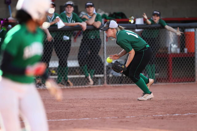 Palo Verde's Lo Oxford (10) is short for a catch on foul territory in their softball game against Rancho at Eller Media Softball Stadium at UNLV in Las Vegas Thursday, May 14, 2015. Palo Verde won ...