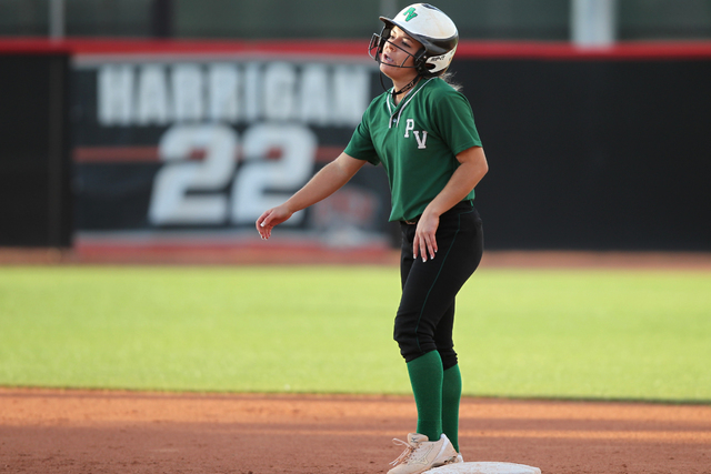 Palo Verde's Jordan Menke (7) reacts after running for a double in the fifth inning of their softball game against Rancho at Eller Media Softball Stadium at UNLV in Las Vegas Thursday, May 14, 201 ...