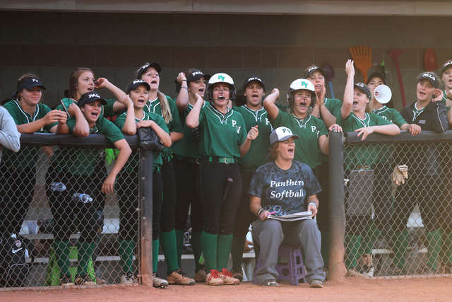 Palo Verde's players cheer from the dugout in the seventh inning of their softball game against Rancho at Eller Media Softball Stadium at UNLV in Las Vegas Thursday, May 14, 2015. Palo Verde won 2 ...