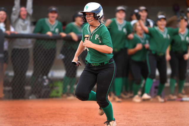 Palo Verde's Lo Oxford (10) runs to home base to score the winning run in their softball game against Rancho at Eller Media Softball Stadium at UNLV in Las Vegas Thursday, May 14, 2015. Palo Verde ...