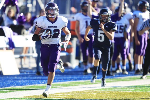 Yerington running back Reese Neville streaks down the sideline for a touchdown against The Meadows during their Division III championship game Saturday. Neville had 14 carries for 125 yards and fo ...