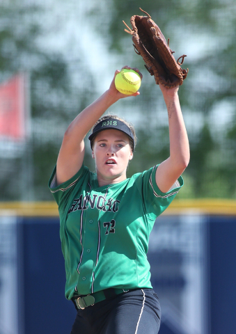 Rancho's Sam Pochop pitches against Reed High School during NIAA DI softball action at UNR in Reno on Thursday, May 19, 2016. Reed won 2-0. Cathleen Allison/Las Vegas Review-Journal