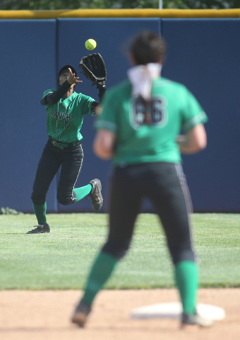 Rancho's Jahnae Davis Houston makes a play against Reed High School during NIAA DI softball action at UNR in Reno on Thursday, May 19, 2016. Reed won 2-0. Cathleen Allison/Las Vegas Review-Journal
