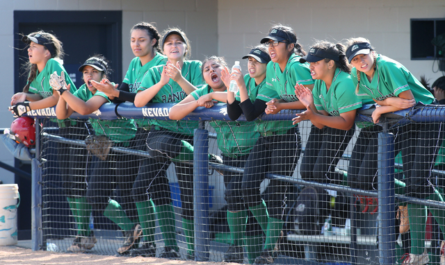 Players on the Rancho bench watch NIAA DI softball action against Reed High School at UNR in Reno on Thursday, May 19, 2016. Reed won 2-0. Cathleen Allison/Las Vegas Review-Journal
