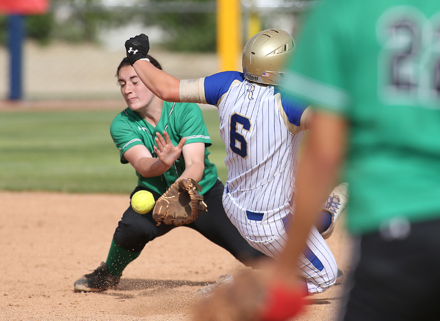 Rancho's Gianna Carosone tries to make the tag against Reed's Ryia Grant during NIAA DI softball action at UNR in Reno on Thursday, May 19, 2016. Reed won 2-0. Cathleen Allison/Las Vegas Review-Jo ...