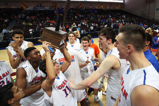 Bishop Gorman celebrates after their victory over Palo Verde in the Division I state championship game Friday, Feb. 27, 2015, at the Orleans Arena.  Bishop Gorman won their fourth consecutive stat ...