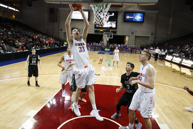 Bishop Gorman center Stephen Zimmerman gets a put back against Palo Verde during their Division I state championship game Friday, Feb. 27, 2015, at the Orleans Arena.  (Sam Morris/Las Vegas Review ...