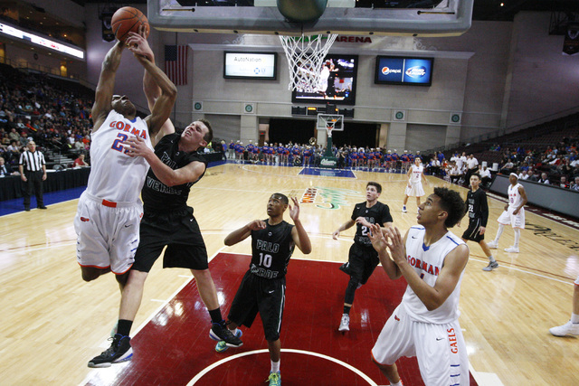 Bishop Gorman forward Nick Blair is fouled by Palo Verde forward Kyler Hack during their Division I state championship game Friday, Feb. 27, 2015, at the Orleans Arena.  (Sam Morris/Las Vegas Revi ...