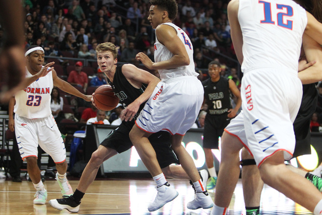 Palo Verde forward Grant Dressler tries to find a way around Bishop Gorman center Chase Jeter during their Division I state championship game Friday, Feb. 27, 2015, at the Orleans Arena.  (Sam Mor ...