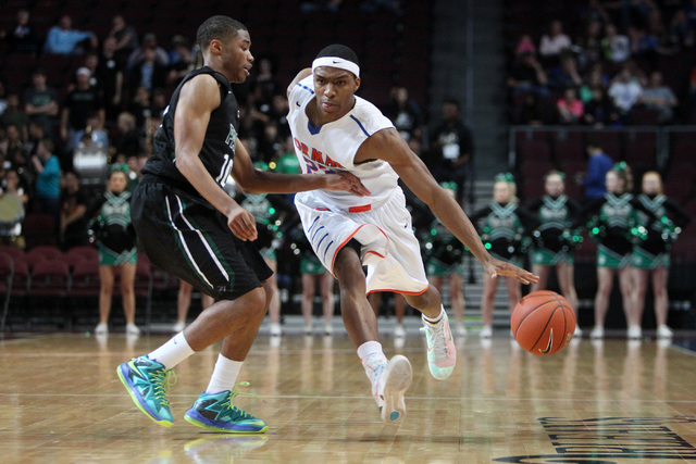 Bishop Gorman guard Nick Blair is covered by Palo Verde guard Ja Morgan during their Division I state championship game Friday, Feb. 27, 2015, at the Orleans Arena.  (Sam Morris/Las Vegas Review-J ...