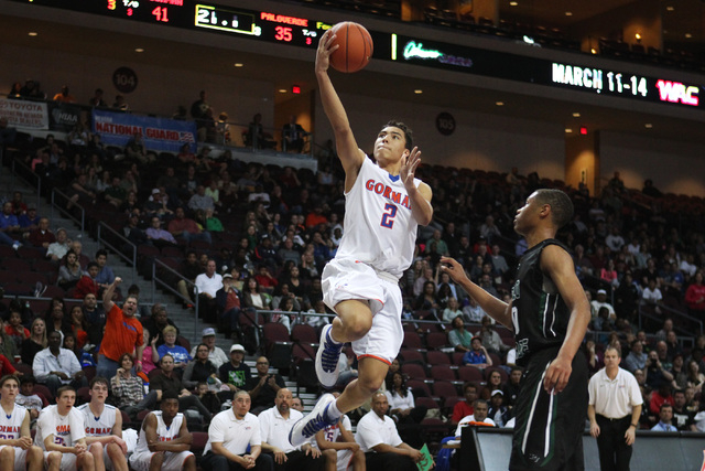 Bishop Gorman guard Richie Thornton finds an easy path to the basket past Palo Verde guard Ja Morgan during their Division I state championship game Friday, Feb. 27, 2015, at the Orleans Arena.  ( ...