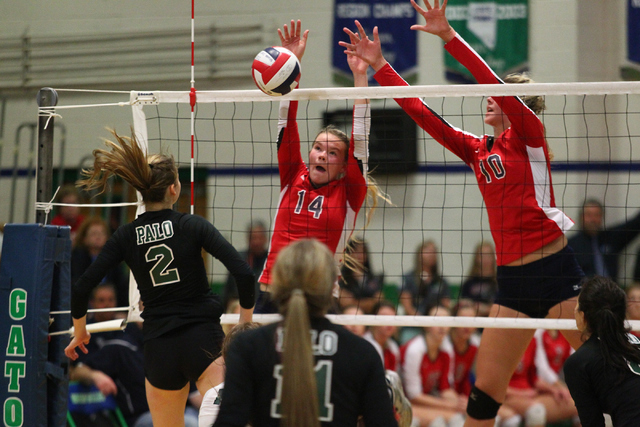 Coronado's Cali Thompson (14) and Berkeley Oblad (10), shown defending an attack from Palo Verde's Lexi Riggs (2) during the championship match of last year's Division I state tournament, lead the ...