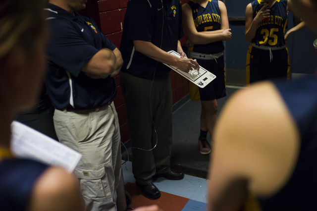 Boulder City girls basketball coach Paul Dosch speaks during halftime during a basketball game at Del Sol High School in Las Vegas on Tuesday, Jan. 10, 2017. Dosch, 44, who has been coaching the t ...